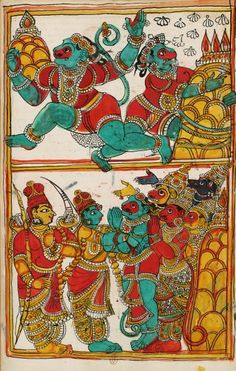 Hanuman returns with the mountain. Album 132 illustrations of Ramayana. Masulipatam (Andhra) and Karaikal (Tanjore), between 1727 and 1758. above, simultaneous action of Hanuman wrenching part of Himalaya and leaves with; down, Rama and his brother regained health through plants reported and thank the monkeys and bears.