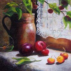 DPW Fine Art Friendly Auctions - Still Life by Window by Donna Munsch