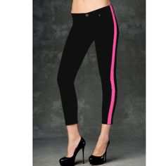 HUDSON LOULOU JEAN IN EXCELLENT CONDITION USED ONCE BLACK AND HOT PINK CROPPED SKINNY JEANS BY HUDSON SIZE 25 inseam 26 in . The loulou is inspired by loulou de la falaise, yves saint laurent's 'muse' that influenced the design of the iconic le smoking tuxedo suit. Our loulou tuxedo crop skinny embodies effortless tailoring in a subtly relaxed style. In snider, the loulou takes on a uniquely vibrant form in black with phosphorescent pink stripe Hudson Jeans Jeans