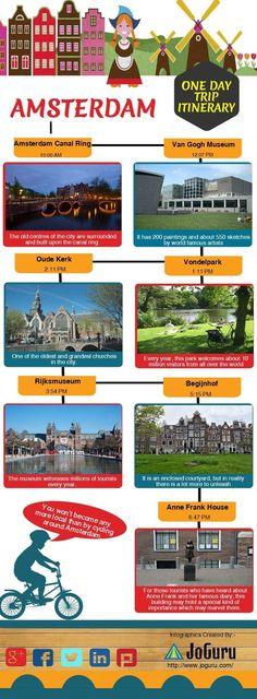 Amsterdam One Day Trip Itinerary   Created in @Piktochart #Infographic Editor  Netherlands Acesse Nosso Blog encontre muito mais Informações http://storelatina.com/travelling   #Netherlandstravel #Netherlandsrecipes #travelNetherlands