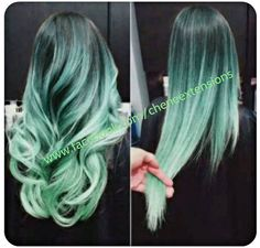 Balayage Dip Dye 8A Remy Ombre Balayage Human Hair Extensions Full Head Weft    1b Off Black  Mint Green Ombre