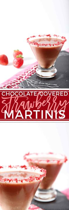 Mix some Skinny Chocolate-Covered Strawberry Martinis for girl's night or Valentine's! These dairy-free, sugar-free martinis are tasty! via @speckledpalate