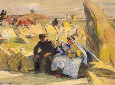 """Lucien Simon, """"Le Menhir"""",  vers 1912 .    Aquarelle gouachée sur papier,      Collection particulière     Une étude ou une reprise pour le tableau du Museum of Fine Arts de Boston."""