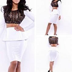 2 Piece Mesh Round Collar Long Sleeve Lotus Skirt Bandage Dress ($11.25) http://www.clubwholesale.net/women-dresses/bandage-dresses