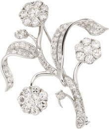 Diamond, Platinum Brooch. ... Estate JewelryBrooches - Pins |