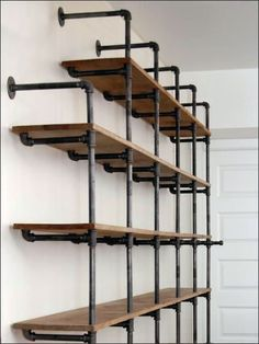 An intricate and interesting approach to shelf support using Cast Iron Pipe. Fascinating that the Wall Standoffs are forward facing, and Shelf Supports rear facing. Still based upon Cast Iron Pipe,...