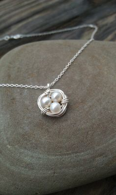 Small Sterling Silver Birds Nest Necklace with by ArbotiqueDesigns