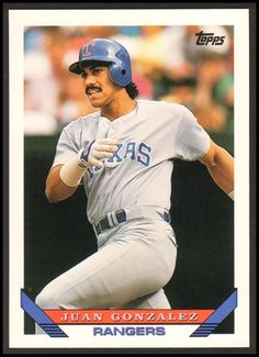 1993 Juan Gonzalez Topps Baseball Card # 34 Condition: NM/MT Number: 34 Year: 1993 Sport: Baseball Team: Texas Rangers Type: Topps Card