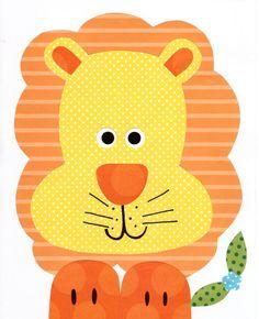 Lion Colorful Animal Nursery Artwork Print // Baby Room Decoration // Kids Room Decoration // Gifts Under 20 // Little Boys Room wall art