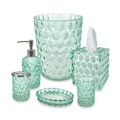 Sea glass bathroom accessories like everything but the towels