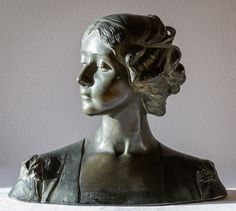 Bust, electroplated?, 36 cm