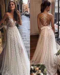 "berta fall 2019 muse bridal cap sleeves deep plunging v neck full embellishment romantic a line wedding dress sheer button back sweep train zv -- MUSE by Berta 2019 ""Barcelona"" Wedding Dresses Pink Wedding Dresses, Wedding Dress Trends, Bridal Dresses, Wedding Gowns, Boho Chic Wedding Dress, Sheer Wedding Dress, Bridesmaid Gowns, Pretty Dresses, Beautiful Dresses"