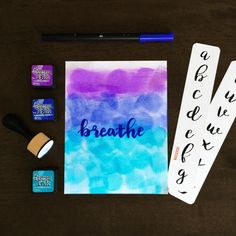 Love brush lettering but can't seem to get it right? These tracing strips go under your page and you trace them. Perfect lettering NOW! #bulletjournal #lettering Creative Lettering, Brush Lettering, Ranger Ink, Emotional Intelligence, Distress Ink, We Need, Word Art, Bujo, Flow