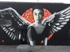 Los Angeles mural by British artist Fin DAC Graffiti Art, Murals Street Art, Art Mural, Street Art Graffiti, Photographie Street Art, Art Du Monde, Powerful Pictures, Modern Portraits, Best Street Art