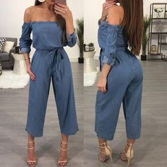 Style:Casual Pattern Type:Plain Material:Polyester/Denim Neckline:Slash Neck Sleeve Style:Long Sleeve Color:Dark Blue Package Include: Jumpsuit Note: There might be difference according. Denim Fashion, Fashion Outfits, Womens Fashion, Dress Outfits, Cute Outfits, Dresses, Crop Top And Shorts, Jumpsuits For Women, Spring Summer Fashion