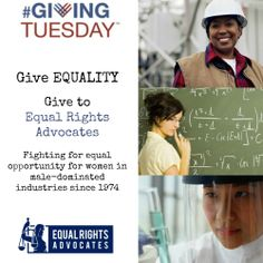 #GivingTuesday Keep fighting for #women in #STEM with a gift to Equal Rights Advocates. http://www.equalrights.org/donate/