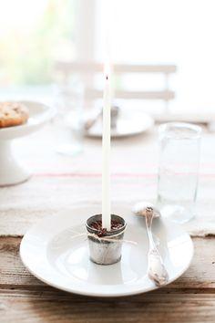 Tischdeko - Kerze im Zinktöpfchen