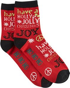 Brighten the Season Holiday Cheer Print Socks One Size Redmulti *** You can get additional details at the image link.