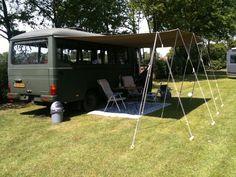 En hier het eindresultaat van onze luifel voor de bus. Camper Oldtimer Mercedes O309D 1978