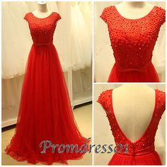 2015 new elegant round neck open back cap sleeves modest red tulle satin long prom dress with pearls, ball gown, cute+dresses+for+teens, homecoming dress, plus size dresses, evening dress #promdress #wedding