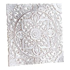 Pureday Mural Shabby Chic carved ornament for hanging/Place MDF about 60 x 60 cm Shabby Chic Design, Style Shabby Chic, Decorative Screen Panels, Wooden Wall Panels, Hanging Room Divider Diy, Carved Wood Wall Art, Deco Boheme, Ceiling Medallions, Decoration