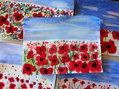 Art Room with a View: Poppy Fields for Remembrance Day/Memorial Day Remembrance Day Activities, Remembrance Day Art, Fall Crafts, Arts And Crafts, Ww1 Art, Poppy Craft, 3rd Grade Art, Anzac Day, Kindergarten Art