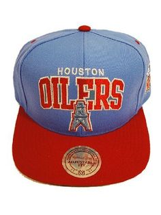7cab50f21ba Houston Oilers Two Tone Plastic Snapback Adjustable Plastic Snap Back Hat    Cap Mitchell   Ness.  24.99