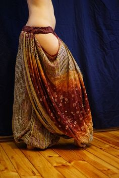 LILLYLOONS:. Embroidered cotton pantaloons with cutouts for Tribal or Tribal Fusion Bellydance