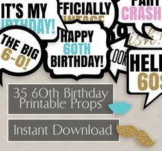 35 60th Birthday photo booth printable props, sixtieth party, black white, sixty years old photobooth props for birthday party, 60 years by YouGrewPrintables on Etsy