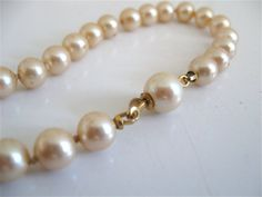 Vintage Pearl Bracelet Hidden Gold Clasp by ErmaJewelsVintage, $25.00