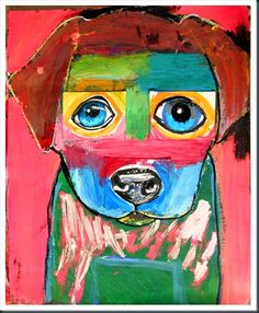 AWESOME project! Eyes and nose are painted on index cards which are then glued on  to larger paper where the dog is painted around them.