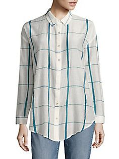 Eileen Fisher - Windowpane Organic Cotton & Silk Shirt