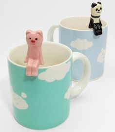 cloud mug with animal spoon