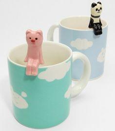 cloud mug with animal spoon
