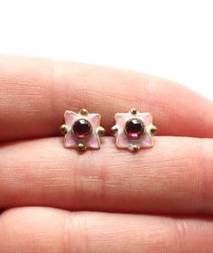 Vintage Sterling Silver 925 Pink Enamel Earrings with Plum Purple Centers by paststore on Etsy