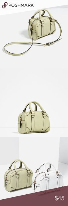 Mini bowling bag with buckles Side buckle detail.... Zip closure... Lining with pocket...handle, adjustable & detachable shoulder strap.... Outer shell 100% polyurethane... Lining 80% polyester 20% cotton Zara Bags Mini Bags