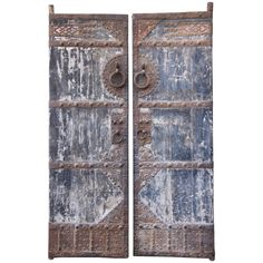 Pair of Asian Painted and Metal Doors | From a unique collection of antique and modern doors and gates at https://www.1stdibs.com/furniture/building-garden/doors-gates/
