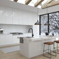 The top-notch Kitchen, white kitchen , contemporary kitchen , kitchen design creativity! Kitchen Furniture, Kitchen Design Trends, Kitchen Trends, Kitchen Remodel, Contemporary Kitchen, Kitchen Handles, Kitchen Layout, Modern Kitchen Design, Minimalist Kitchen