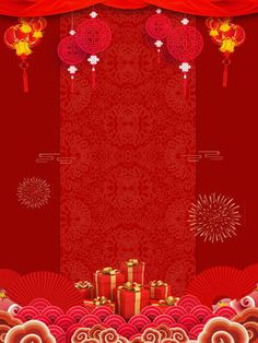 New Years Day Year Red Festive Fireworks Background red festive chinese style pig year spring festival background design