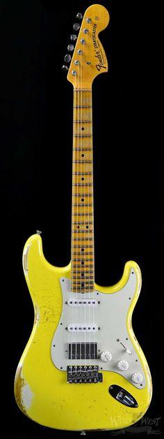 "Fender 1969 Heavy Relic Stratocaster Graffiti Yellow Fat Head ""C"" - Wild West Guitars #vintageguitars"