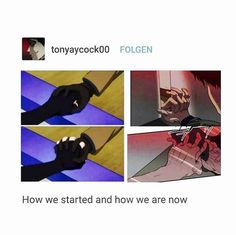 how we started and how we are now, killing stalking and yoi