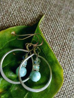 Sterling Silver hoop earrings, Larimar and silver earrings, Handmade drop earrings, Argentium silver, AAA grade Larimar, elegant earrings