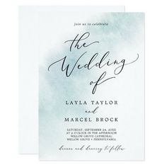 Watercolor Wash Blue All In One Wedding Invite with a simple splash of pastel light blue water color with elegant and classic style. Click to customize with your personalized details today.