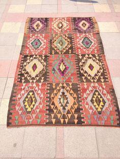 VINTAGE Turkish Kilim Rug Carpet Handwoven Kilim by pergamonpillow