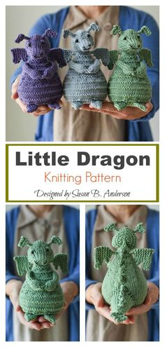 Adorable Little Dragon Amigurumi Knitting Pattern Animal Knitting Patterns, Crochet Patterns Amigurumi, Crochet Blanket Patterns, Knit Patterns, Knitting For Kids, Crochet For Kids, Knitting Projects, Crochet Projects, Knitting Ideas