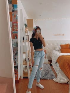 Casual School Outfits, Cute Comfy Outfits, Cute Summer Outfits, Teen Fashion Outfits, Retro Outfits, Look Fashion, Trendy Outfits, Fall Outfits, Fashion Teens