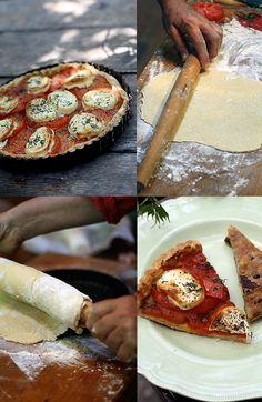 Mmm, summery-fresh! French tomato and goat cheese tart