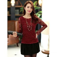 Chaoliu New 2014 Korean Styles Round Neck Slim Fit Long Sleeves Lace Base Shirt - USD $ 11.99