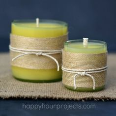 Homemade Beeswax Candles DIY & How to Cut Wine Bottles to make Candles - www. Cutting Wine Bottles, Empty Wine Bottles, Wine Bottle Candles, Recycled Wine Bottles, Bottle Cutting, Painted Wine Bottles, Glass Bottles, Cut Bottles, Recycled Glass