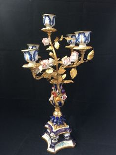 Elaborate 20th Century French Sevres 6Arm Porcelain Chandelier w/ Bronze Ormulu  #SEVRES
